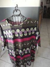 Lularoe Irma Large BNWT Black w/Green and Purple Spheres and Bold Pink Stripes