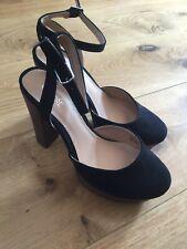 fiore size 4 eu 37 black suede platform buckled high heeled mary jane sandals