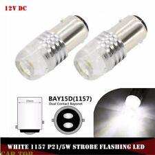 2X White 1157 BAY15D P21/5W Strobe Flash Light Brake Blink Led Tail Reverse Bulb