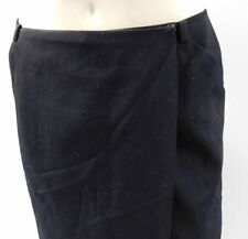 AUTHENTIC CHANEL BLACK WOOL WRAP SKIRT WITH PATTERNED SILK LINING, SIZE 36/US 6