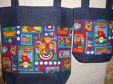New Handmade Teddy Bear Baseball Diaper Denim Tote Bag Set