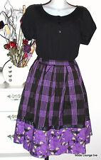 NOA NOA FALDA wyville Viscosa Falda M 38 Honor Negro Púrpura viscosa NUEVO