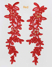 2X Bestickte Venise Spitze Pailletten & perlenbesetzt Applikation Ziermotiv Rot