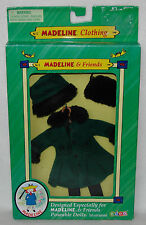 "Madeline 7 1/2"" - 8"" Doll Clothing Green Coat Muff Hat Tights Hanger New in Box!"