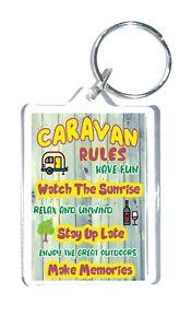 Fun Caravan Gift - Caravan Rules - Novelty Keyring - Present For Caravan Lovers