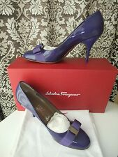 NEW IN BOX SALVATORE FERRAGAMO PURPLE CARLA BOW KITTEN HEEL PUMP SHOES 8 CLASSIC