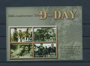 LO40347 Guyana anniversary D-Day good sheet MNH
