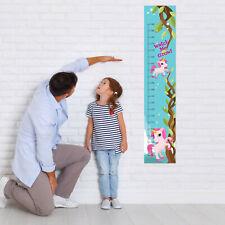 Personalised Canvas Kids Gift Idea Height Growth Chart Unicorns Design Add DOB