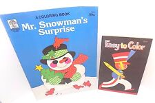 Lot of 2 Children's Coloring Books, Easy to Color (1963) Mr. Snowman (1982)