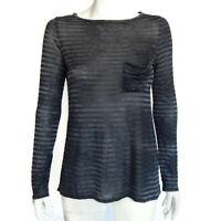 ELIZABETH & JAMES Striped Gray Black Long Sleeve Top Front Pocket Sz- XS /4685