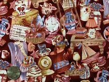 "Dark Red Pink ""Tag Sale"" Flea Market Antique Shop Cotton Quilting Fabric 42""BTHY"