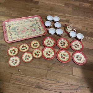 Vintage Wolverine Children's Tin Toy Tea Set with Cups Teapot Tray Plates Etc.