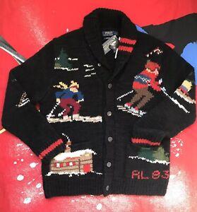 NWT Polo Ralph Lauren SKI Hand Knit Wool Blend Jacquard Cardigan Sweater L RL 83
