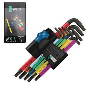 Wera 9 Pc Metric Torx Hex Allen L Key Set Multicolour Holding Function 967/9 TX
