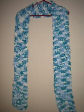 Hand Knitted Turquoise/Blue/White Soft Thick Wool. Super-Long At 220cm.