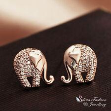 18k Rose Gold Plated AAA Grade Cubic Zirconia Cute Elephant Stud Earrings