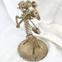 """Vintage Nuts & Bolts Photographer Welded Recycled Metal Figurine 7.5"""" Camera"""