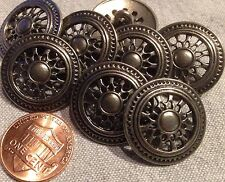 "8 Dark Silver Tone Metal Shank Buttons Slightly Domed Pierced 7/8"" 23mm # 7975"