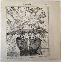 Lithographie, Daumier, Je crois que le parapluie..., Actualités, LD3743