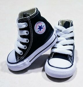 NEW NO BOX CONVERSE CHUCK TAYLOR ALL STAR HI TOP Black TODDLERS SHOES SIZE 2