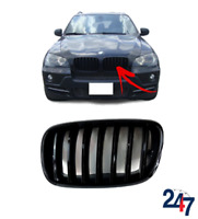 FRONT KIDNEY GRILLE GLOSSY BLACK LEFT COMPATIBLE WITH BMW X5 E70 06-13 X6 08-13