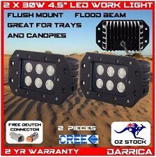 "2 x 30W 4.5"" CREE LED flush mount light flood beam ute tray bull bar canopy"