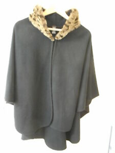 MARKS AND SPENCER BLACK WRAP CAPE OPEN COAT ONE SIZE FAKE FUR COLLAR