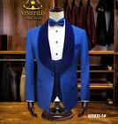 Royal Blue Formal Suits For Men Business Wedding Groomsman Best Man Tuxedos