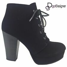 NEW Womens Fashion Booties Ankle High Heels Wedge Lace Up Hidden Platform Suede