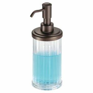 mDesign Fluted Plastic Refillable Liquid Soap Dispenser Pump - Clear/Bronze