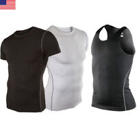 Men Gym Running Sport Body Compression Wear Base Layer Tank Top Vest Under Shirt