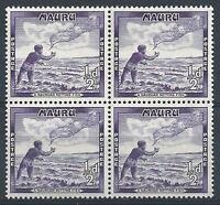 Nauru 1954 Sc# 39 Casting throw net Fisherman GB colony block 4 MNH