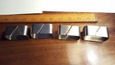 Set Modernist Style Made In Usa 4 Metal Chrome Napkin Ring Holder