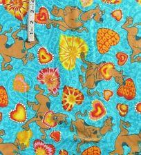 3+ yds Scooby Doo,Lg Hearts Print,Blue Green Flannel Fabric,Springs,Hana-Barb
