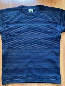 S.N.S. SNS Herning Fisherman Sweater in Navy Blue Size L Large 100% Wool