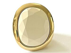 Signed Kenneth Jay Lane KJL Carved White Lucite Gold Plated Statement Ring Sz 9