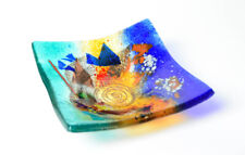 Greece Anactacia Glass Abstract Coffee Table or Trinket Dish, Blue, Red, Yellow