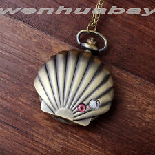 Vintage Bronze conch shell Case Quartz Pocket watch Crystal with necklace Chain