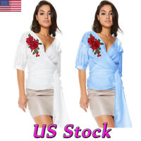 Women Rose Floral Embroidered Wrap V Neck Blouse 3/4 Sleeve Shirt Casual Tie Top