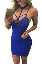 Abito aperto nudo Aderente Colletto Party Ballo Strappy Cutout Lace Dress M