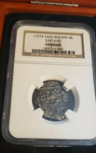 NGC Shipwreck Certified (1574-1622) Sao Jose Bolivia 4 Reales 4R Silver Coin