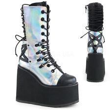 "Swing 120 Silver Hologram Calf Boot 5.5"" Platform Pentagram Design Goth Grunge"