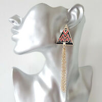 Gorgeous 10cm long gold tone, black & red - waterfall chain tassel drop earrings