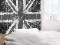 Graffiti of British flag black and white photo Wallpaper wall mural (38735199)