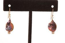 14k gf Gold Baroque Peacock Pearl Dangle Earring French Hook Greenwood Designs