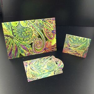 Yellow Rainbow Note Card Tag Matching Set with Envelope & String Label Handmade