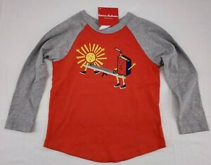NWT HANNA ANDERSSON Sueded Jersey Art Tee Long Sleeve Tangy Red Boys Sz 100  4
