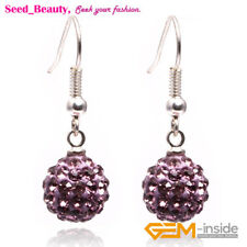 Women 10mm Pave Beads Disco Ball Beads Clay Dangle Earrings Rhinestones Eardrop
