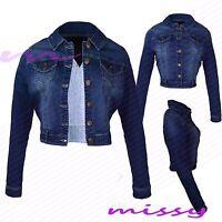NEW WOMENS LADIES  DENIM JACKET Jean Waist Jackets Cropped Size 8 10 12 14 16