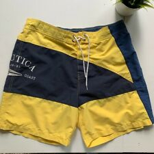 NAUTICA VTG Colorblock Swim Trunks Board Shorts Navy Blue & Yellow Men's XL EUC